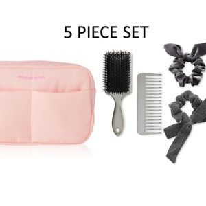 Cosmetic bag hairbrush comb scrunchies 5pc set NEW